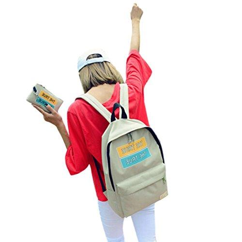 Clode® Chicas chicos lona impresión bolso de escuela mochila mochila de hombro y sistema de bolsa de bolso de la moneda Caqui 1
