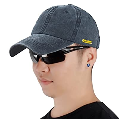 Sidiou Group Cotton Baseball Caps for Men and Women Snapback Caps Plain Washed Cap Blank Baseball Caps Sun Hat Adjustable Unisex Couple Cap (Navy)