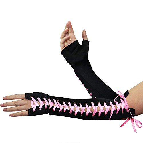 Dance Costumes For Less (Onshine Women Long Satin Gloves Elegant Stretch Finger-less Arm Gloves for Wedding Costume Party (Pink))