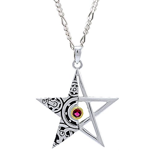 """Peter Stone Steampunk Pentacle Ruby Pendant with 18"""" Silver Chain Red MPD3870ru"""