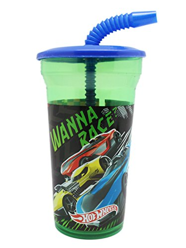 - Hotwheels Wanna Race Green Tinted Cup With Blue Straw and Top Cover