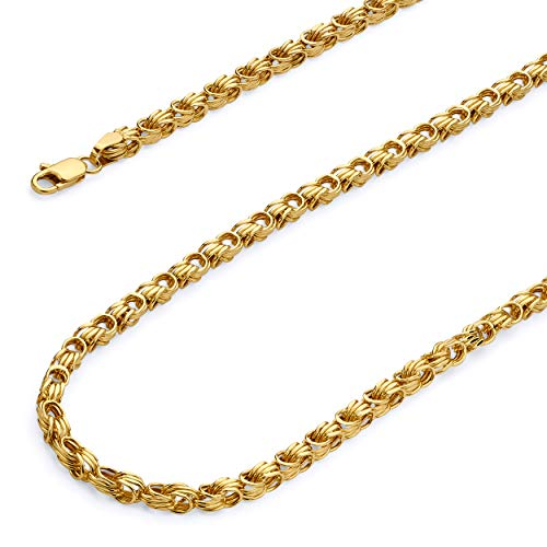 - Wellingsale 14k Yellow Gold 3.5mm Hollow Square Byzantine Chain Necklace with Lobster Claw Clasp - 18