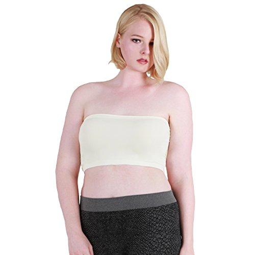 Nikibiki Women's Plus Size Bandeau Top Plain Jersey