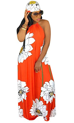 LETSVDO Women's Sexy Halter Long Beach Dress Floral Print Party Maxi Dress with Scarf Plus Size Orange