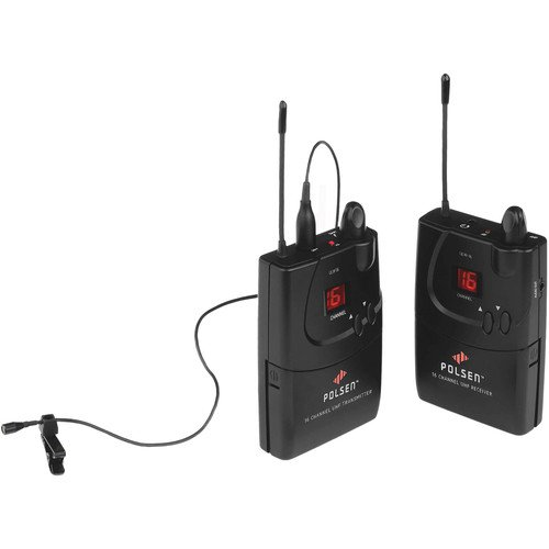 Polsen ULW-16-16-Channel Camera-Mountable UHF Wireless System with PL-4 Lavalier Microphone