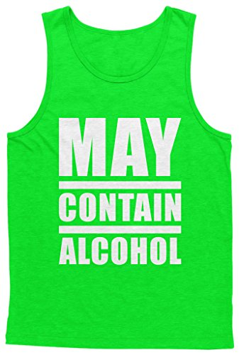 Blittzen Mens Tank May Contain Alcohol, L, Lime Green (Best Alcohol For Men)