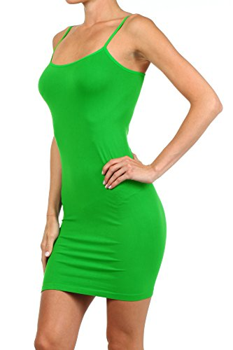 Slip Size Plus Long Size Seamless One Dress Women's ICONOFLASH Green Nylon and Cami fx1TnXwq8
