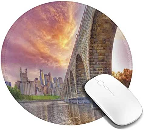 Round Mouse Pad,Stained Abutments of Historical Stone Arch Bridge Crossing The Mississippi River,Non-Slip Gaming Mouse Mat,1 PCS