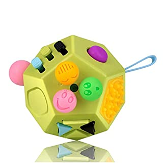 UOOE Fidget Sensory Toy Cube,12 Side Fidget Cube Dice Dodecagon Relief Stress and Anxiety for Kids and Adults with ADD, ADHD, OCD, Autism by (Green/Colorful)