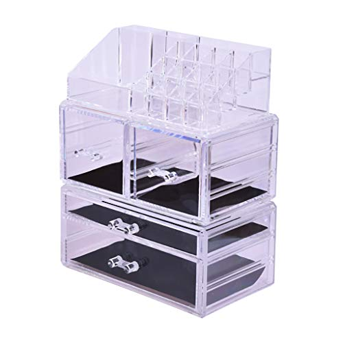 Orcbee  _Makeup Organizer 3 Pieces Acrylic Cosmetic Storage Drawers and Jewelry Storage Box