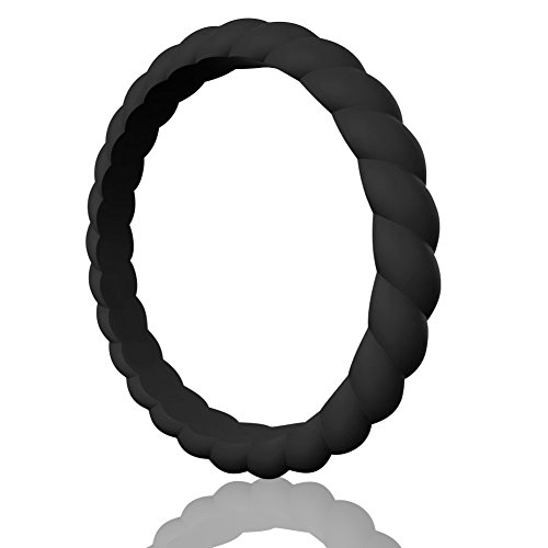 ing Ring For Women,Thin and Stackble Braided Rubber Wedding Bands,No-toxic,Skin Safe ()