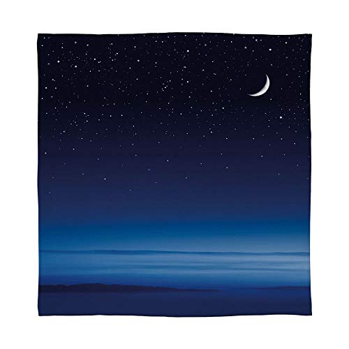 YOLIYANA Warm Flannel Blanket,Night,for Folding Bed Crib, Stroller, Travel, Couch and Bed,Size Throw/Twin/Queen/King,Moon and Stars Over Santa Barbara Channel