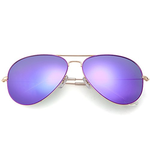 MT MIT Classic Aviator Polarized Mirrored Lens Sunglasses for Men Women 100% UV - Lens Purple Sunglasses Womens