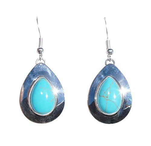 Hanging Tear Drop St. Silver Navajo Crafted Synthetic Turquoise Earrings Handcrafted Indian Jewelry New Mexico