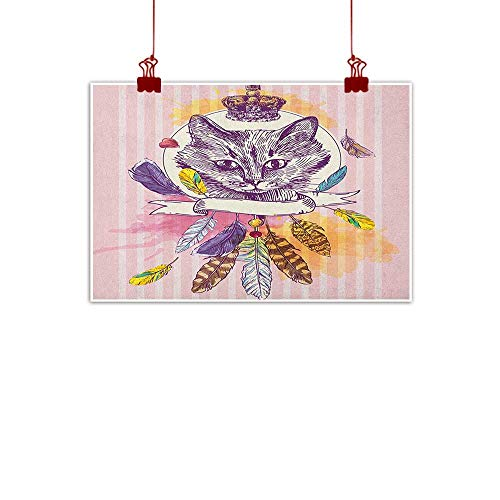 Home Wall Decorations Art Decor Feather,Hand Drawn Head of Cat with Crown Sketchy Boho Ink Drawing Style Hippie Animal, Pink Multicolor 36