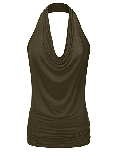 (Doublju Womens Sleeveless Sexy Halter Drape Cowl Neck Top with Plus Size Olive 3XL )