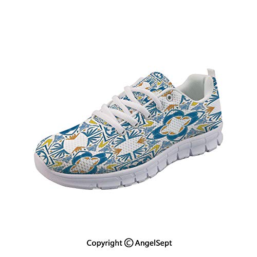 - oobon Lightweight Casual Mosaic with Azulojo Spanish Arabesque Breathable Mesh Shoes