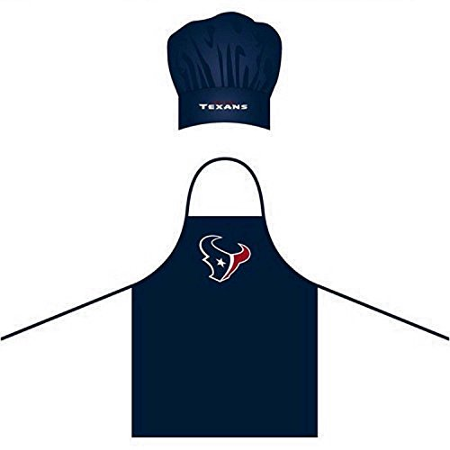 Wirezoll NFL Houston Texans Chef Hat and Apron Set, Navy, One Size - Houston Texans Apron