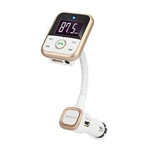 Transmisor FM Bluetooth Reproductor de MP3 con 2 USB Cargador, Llamadas Manos Libre Para Smartphone iPhone / Samsung / Huawei/ Xiaomi (Oro)