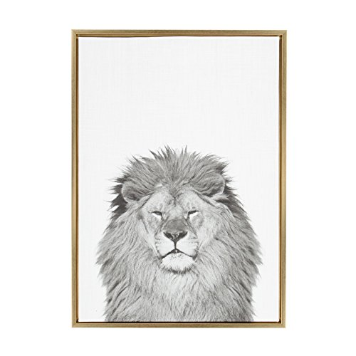 Kate and Laurel Sylvie Lion Framed Canvas by Simon Te Tai, 23x33, Gold