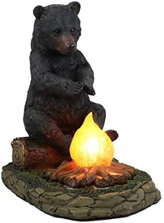 Ebros Whimsical Rustic Forest Black Bear Warming Hands By Campfire Led Night Light Statue 10 High Woodland Cabin Lodge Decor Bears Figurine For Mantelpiece Shelves Tables Decorative Home Accent Home Kitchen