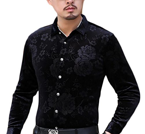Button Down Velvet Print Mens Slim 7 Long Dress Shirt today UK Sleeve Fit zwCqE8