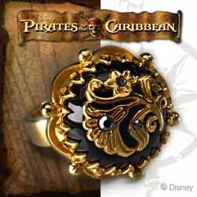 Deluxe Adult Costumes - Men's Pirate of the Caribbean Jack Sparrow onyx and silver flower ring replica