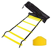 Tebery 12-Rung Adjustable Speed AgilitTraining Ladder + 10 Bonus Cones + 4 Stakes with Black Carry Bag