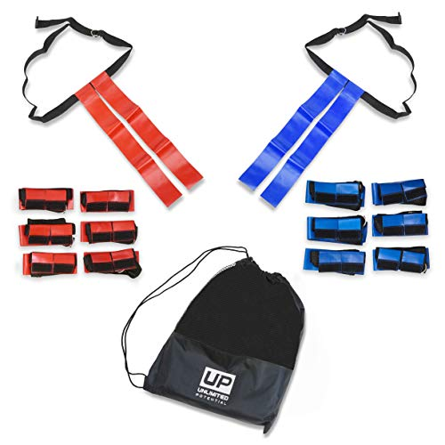 Unlimited Potential Flag Football Set,Premium Football Gear, Durable Flags - Set of 14 Flags Only (7 Red / 7 Blue) + 1 Bag ()