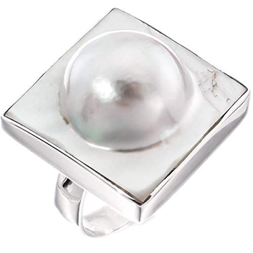 - Square White Oyster Blister Mabe Cultured Pearl in Shell 925 Sterling Silver Ring, 13/16