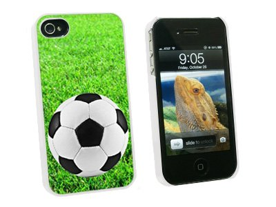 Graphics and More Soccer Ball on Grassy Field - Snap On Hard Protective Case for Apple iPhone 4 4S - White - Carrying Case - Non-Retail Packaging - White 4s White Hard Case