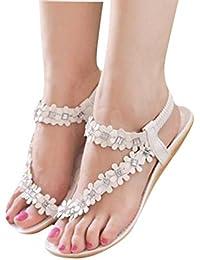 Women Summer Bohemia Flat Sandals Flower Beads Beach Flip-flop Shoes