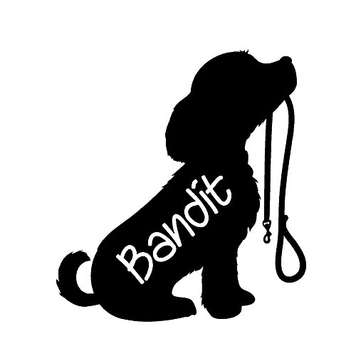 Puppy with Leash Silhouette With Custom Name by StickerDad - size: 5
