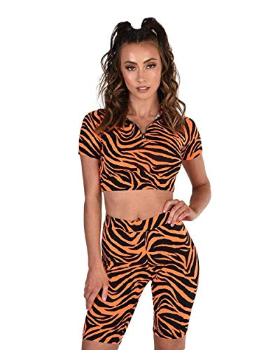 - iHeartRaves Uproar Tiger Print Neon Orange Biker Shorts Set (Large)