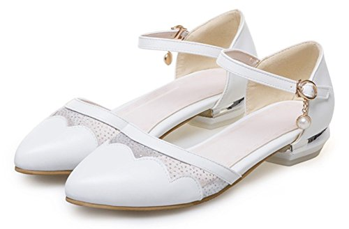 Aisun Donna Carino Dressy Punta A Punta Fibbia Tacco Basso Dorsay Sandali Cinturino Alla Caviglia Bianco