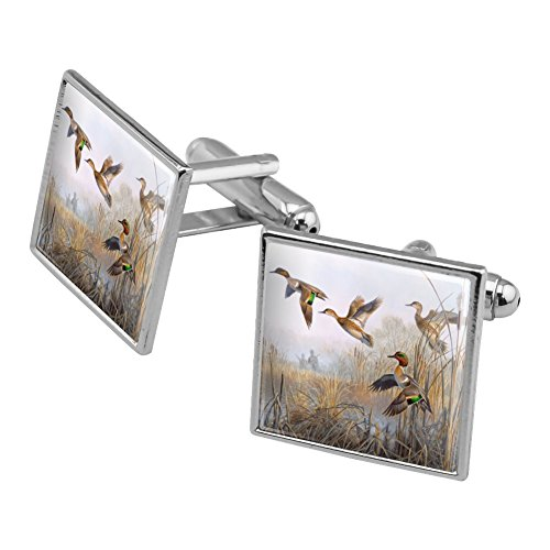 Duck Teal Winged Green (Green-Winged Teal Ducks Taking Flight Hunters Hunting Square Cufflink Set Silver Color)