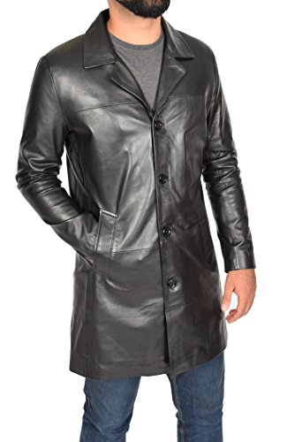 - Mens Real Lambskin Leather Crombie 3/4 Length Blazer Button Box Coat Jimmy Black (XX-Large)
