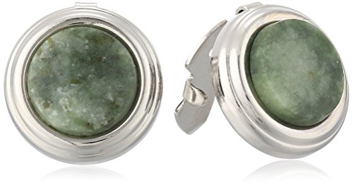 (1928 Jewelry Unisex Silver-Tone Genuine Semi-Precious Aventurine Round Button Cover)