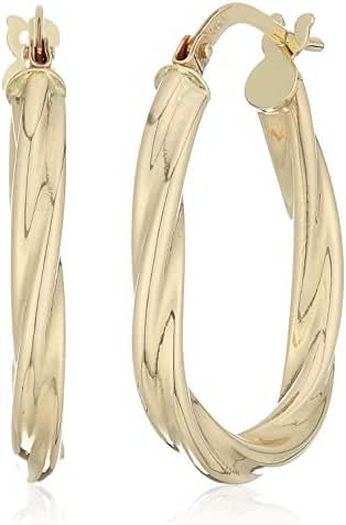14k Yellow Gold 18mm X 24mm Oval Twisted Click Top Hoop Earrings