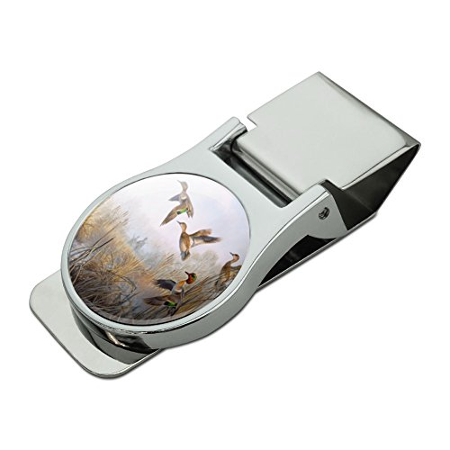 Duck Money Clip - Green-Winged Teal Ducks Taking Flight Hunters Hunting Satin Chrome Plated Metal Money Clip