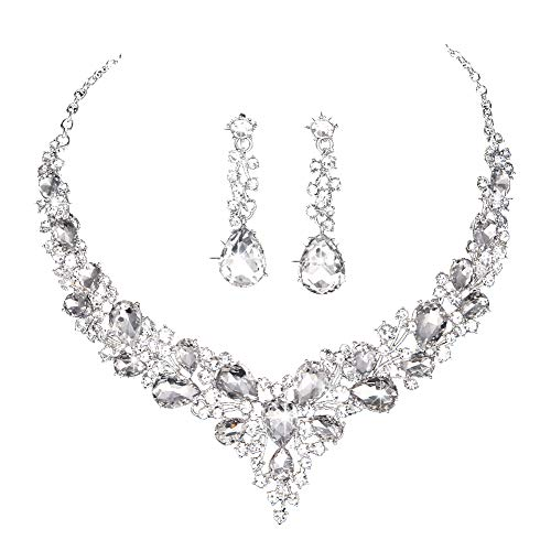 Youfir Bridal Austrian Crystal Necklace and Earrings Jewelry Set Gifts fit with Wedding Dress (Clear-Silver Tone) Beautiful Austrian Crystal Rhinestone Necklace