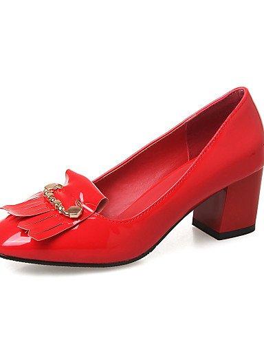 GGX/ Damenschuhe-High Heels-Büro / Lässig-Lackleder-Blockabsatz-Absätze / Quadratische Zehe-Schwarz / Blau / Rot / Weiß red-us6 / eu36 / uk4 / cn36