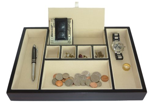 Ebony Walnut Wood Valet Tray Desk Dresser Drawer Coin Case Catch-all for Keys, Phone, Jewelry, Watches, and - Tray Valet Deluxe