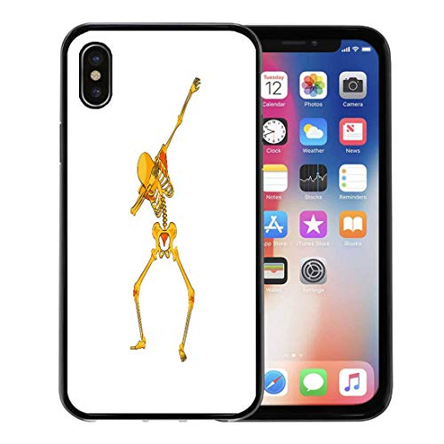 Semtomn Phone Case for Apple iPhone Xs case,Stock Orange Yellow Skeleton Character Dancing Dab Step Hip Hop Pose Meme for Happy Halloween Cartoon for iPhone X Case,Rubber Border Protective Case,Black -