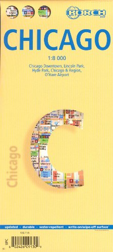 Chicago (Illinois) 1:8,000 Street Map, laminated, waterproof - Airport Ohare Chicago Map