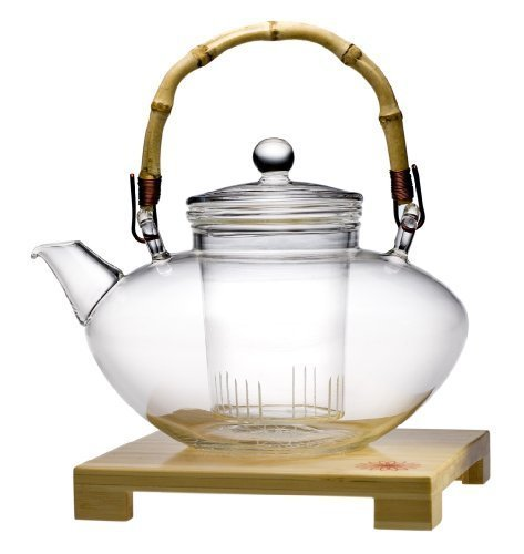 Teaposy Tea for More Glass Teapot, 48-Ounce Capacity (With Bamboo Teapot Stand Glass)