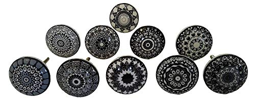 Porcelain Cabinet - Set of 10 Black Ceramic Porcelain Pottery Cabinet knob Drawer pulls Furniture Handles Shabby Chic Vintage JGARTS