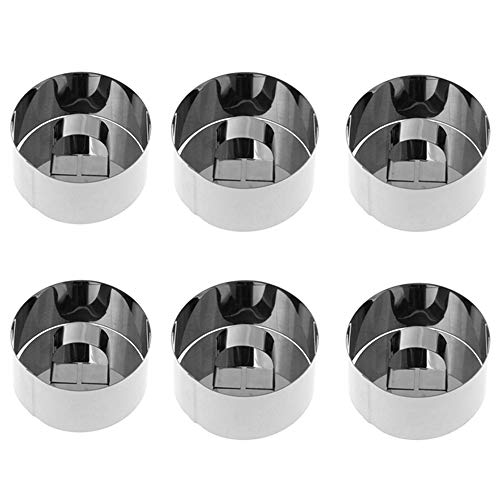 6 Pcs Cake Ring Mold Stainless Steel, 3 x 3 Inch Mousse Mold with Pusher and Lifter Cooking Rings -