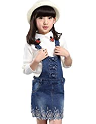 AvaCostume Denim Lace Bowknots Overalls for Girls