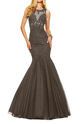 Ballkleider La Damen Braut mia Lang Festlichkleider Abendkleider Sexy Formal Kleider Durchsichtig Spitze Braun Jugendweihe UUwZfq0C